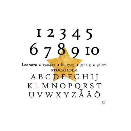 Bokstäver och siffror doptavla