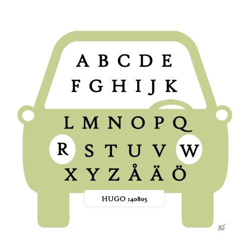 tavla med alfabetet grön