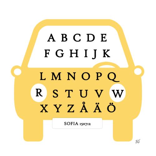 tavla med alfabetet gul