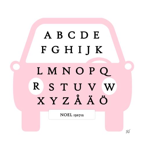 tavla med alfabetet rosa
